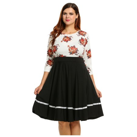 eef083788549 Women New Casual O-Neck Three Quarter Sleeve Prints Plus Size Dress ...