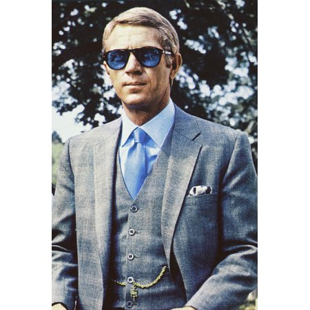Steve McQueen 24x36 Poster in blue suit and classic blue Persol sunglasses Thomas Crown (Steve Mcqueen Blue Eyes)