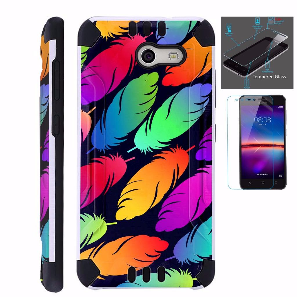 For Alcatel Zip Case + Tempered Glass Brushed Metal Texture Hybrid TPU KombatGuard Phone Cover (Colorful Feather)