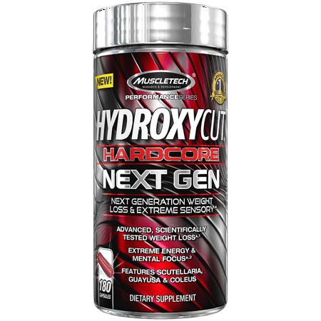 Hardcore Thermogenic Weight Loss Supplement with Green Coffee Bean Extract Formula, Extreme Energy & Enhanced Mental Focus, 180 Count