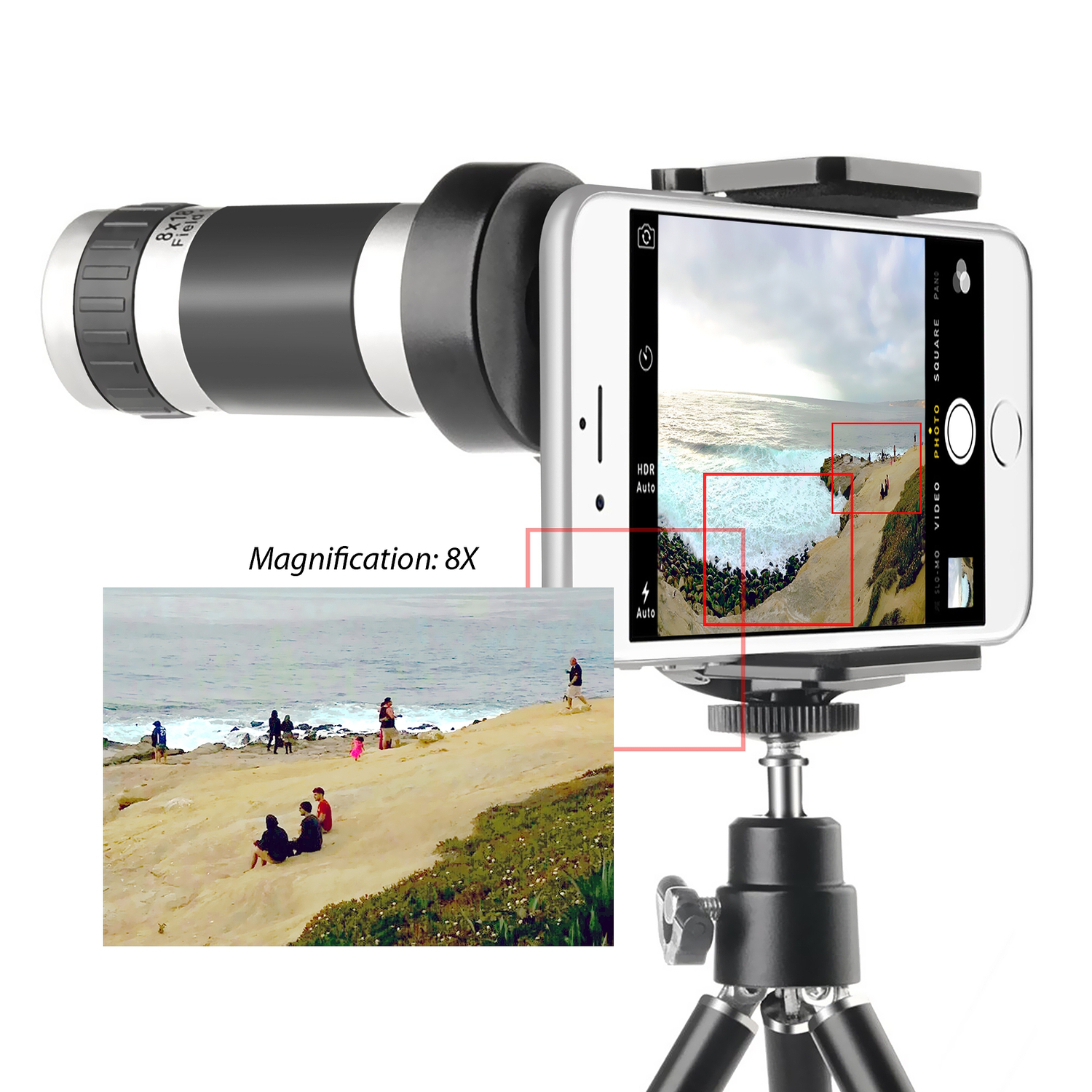 Insten 8X Zoom Telescope Camera Lens with Tripod Stand For Smartphone iPhone 7 6 Plus 6S 5S 5C 4S Samsung Galaxy S7 S6 Edge Plus S5 S4 S3 S2 Note 5 4 ...