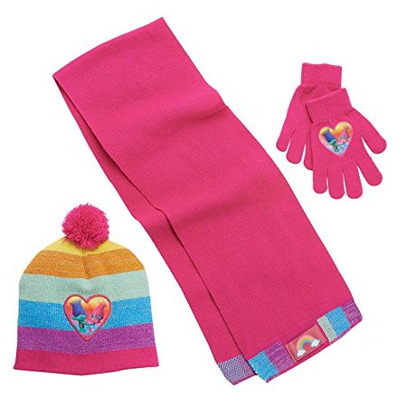 Girls 4-16 DreamWorks Trolls Poppy & Branch Metallic Striped Pom-Pom Hat, Gloves & Scarf Set