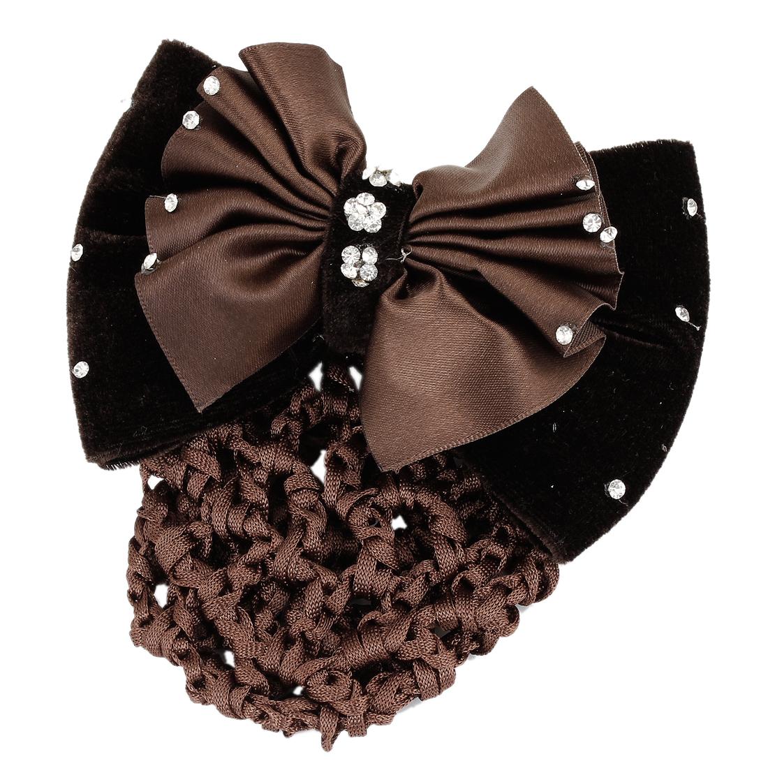 Unique Bargains Rhinestones Ornament Brown Dual Bowtie Decoration Snood Net Hair Clip for Women