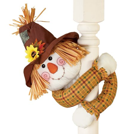 Cute Fall Scarecrow with Straw Hat And Poseable Arms Decoration ()