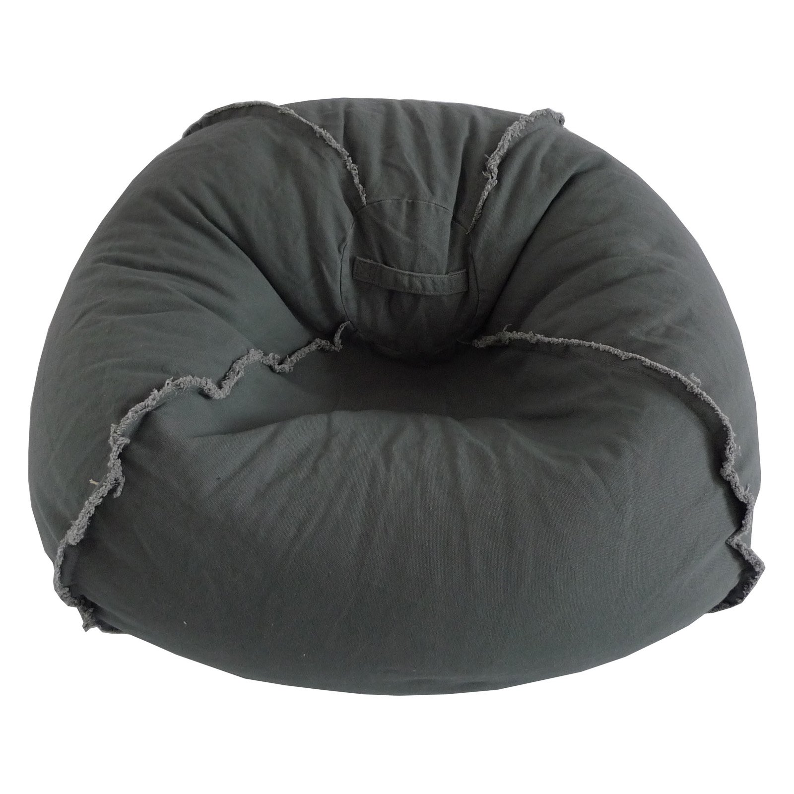 Large Canvas Bean Bag with Exposed Seams, Available in Multiple Colors