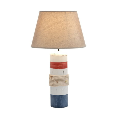 Stylish White Wooden Buoy Table Lamp With Red And Blue Band