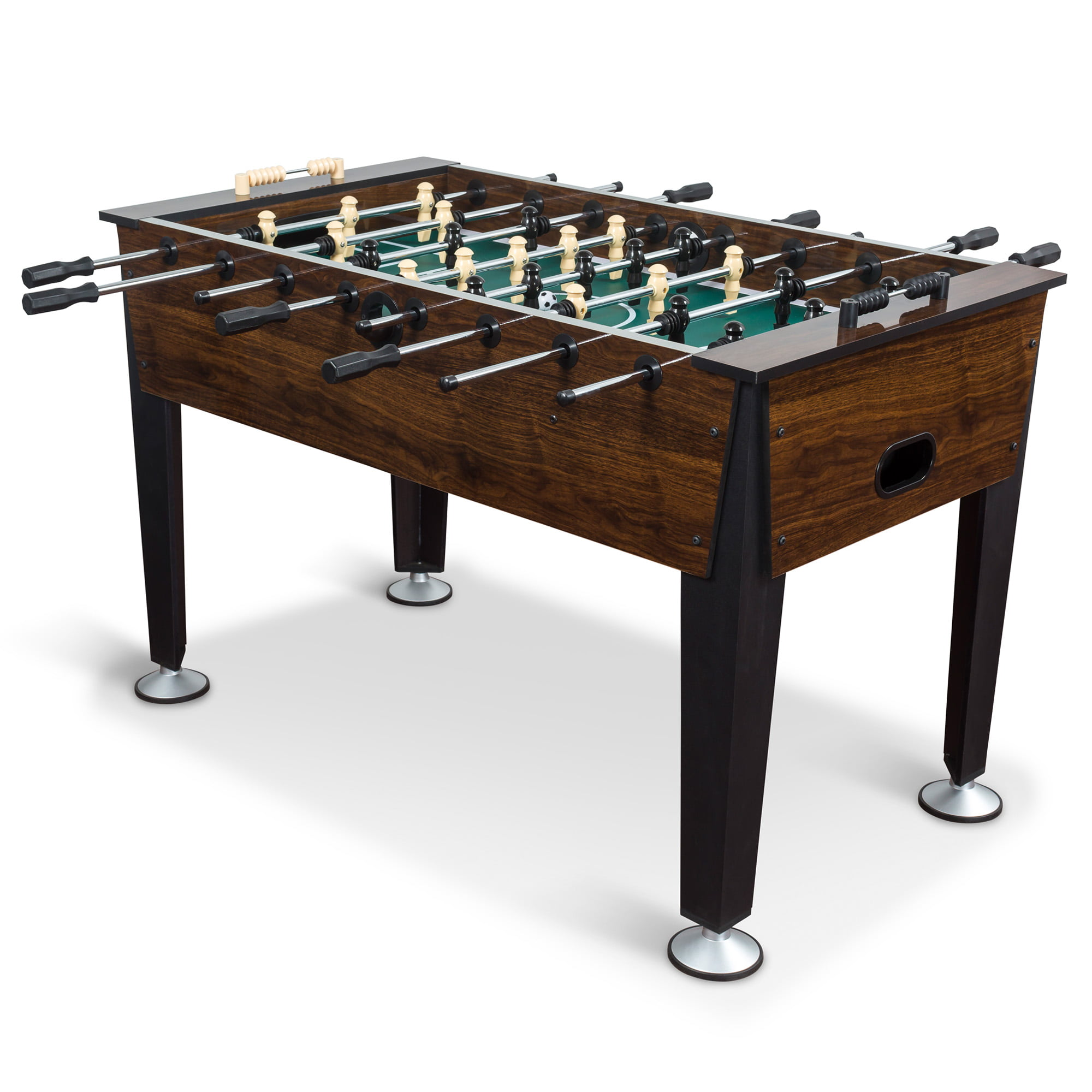 Clic Sport Newcastle Foosball Table Brown Wood Finish 54 In Official Compeion Sized Soccer