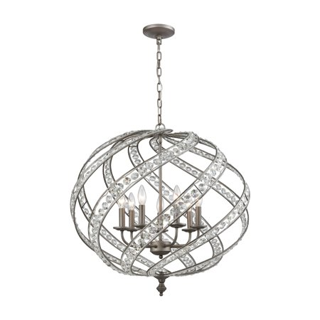 Renaissance - Seven Light Pendant, Weathered Zinc Finish with Metal Cage Shade with Clear Crystal - Framburg Lighting Crystal Pendant