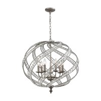 Renaissance - Seven Light Pendant, Weathered Zinc Finish with Metal Cage Shade with Clear Crystal