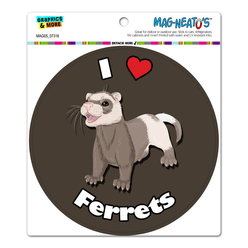 I Heart Love Ferrets - Ferret Pet Circle MAG-NEATO'S(TM) Car/Refrigerator Magnet