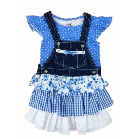 Young Girls Dress (Young Hearts Girls 2 Piece Blue Shirt & Ruffled Overall Jumper Dress Set Size)