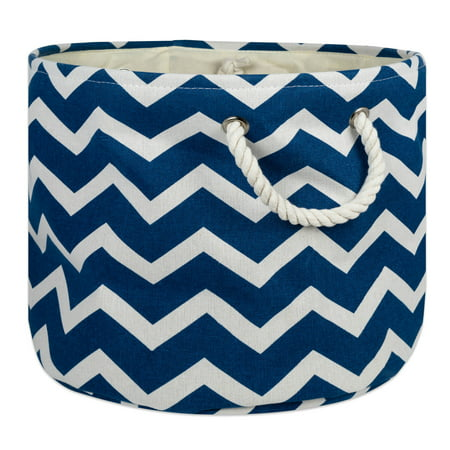 DII Round Chevron Decorative Bin, Large, 100% Polyester, Multiple Colors/Sizes ()