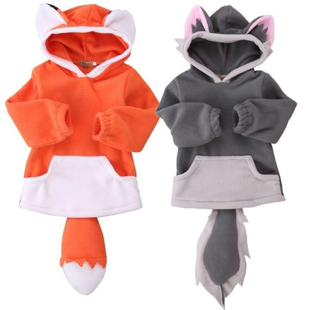 Infant Animal Costumes (Toddler Infant Kids Baby Boy Girl Warm Outerwear Coat Hooded Animals Clothes)