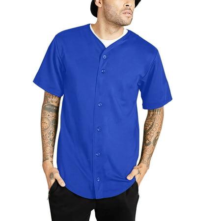 Ma Croix Men's Cotton Baseball Jersey Plain Button Down Short Sleeve Atheletic Sports Tee Shirts