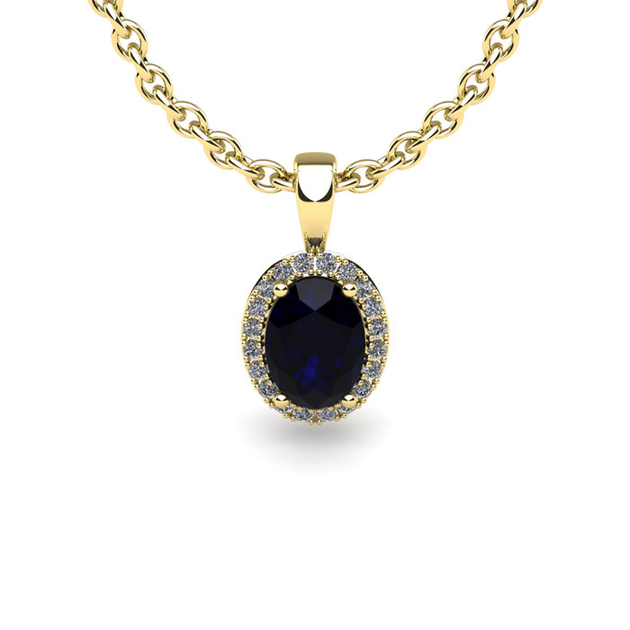 0.67 Carat Oval Shape Sapphire and Halo Diamond Necklace In 10 Karat Yellow Gold With 18 Inch Chain by SuperJeweler
