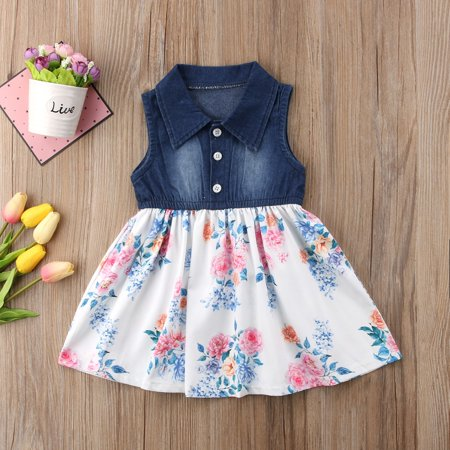 Denim Toddler Kids Baby Girls Sleeveless Dress Flower Elegant Pageant Party - Elegant Flower Girl Dresses