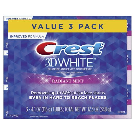 Crest 3D White, Whitening Toothpaste Radiant Mint, 4.1 oz, Pack of 3