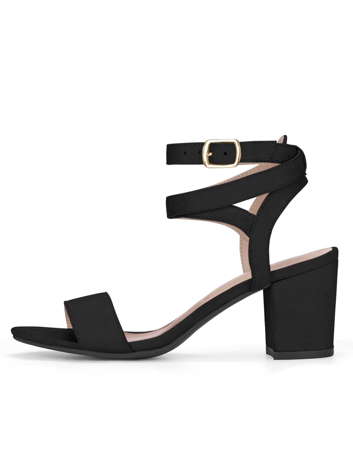 Unique Bargains Women s Crisscross Cutout Mid Block Heel Ankle Strap  Sandals Black (Size 8)