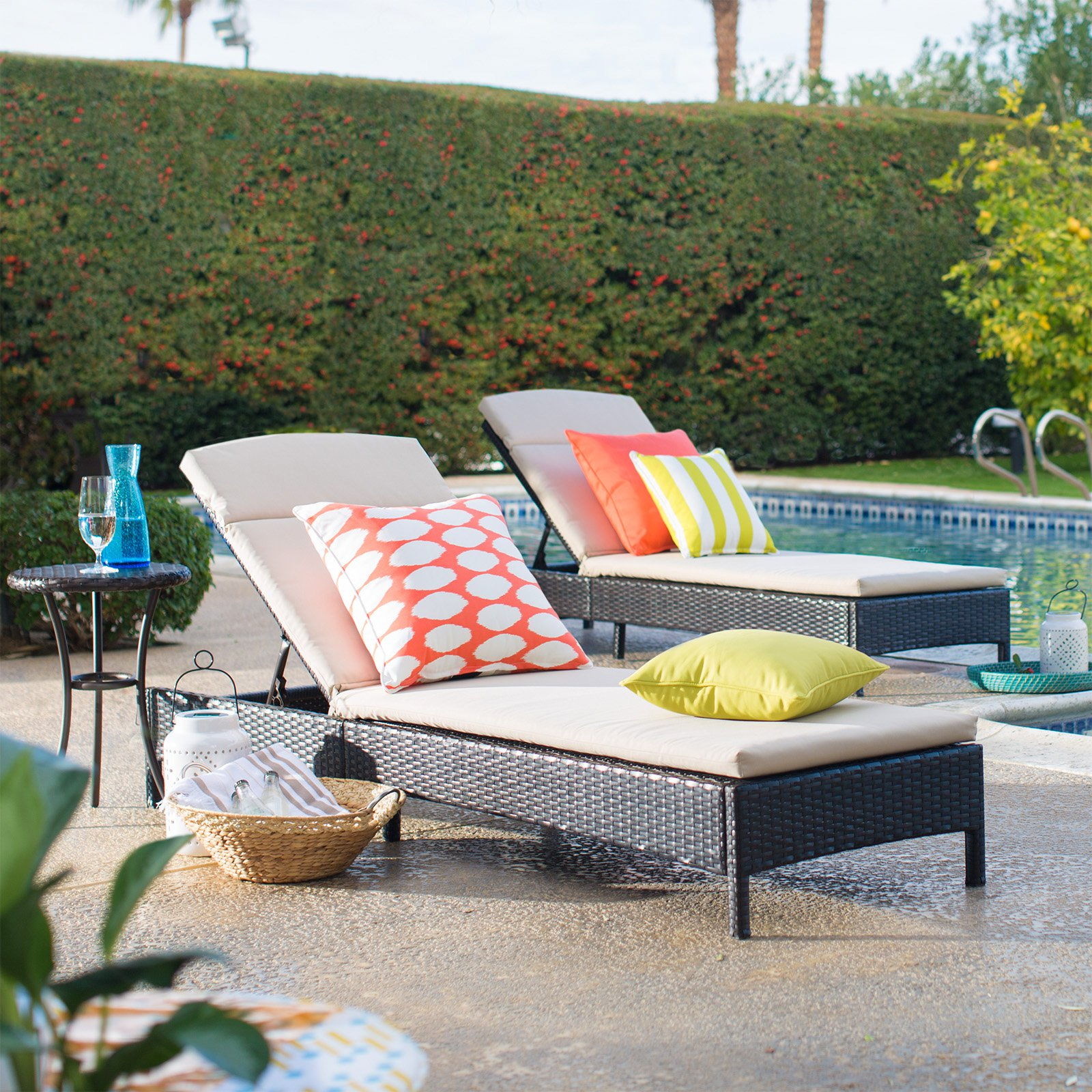 Coral Coast Berea All Weather Wicker Chaise Lounges with Side Table - 3 Piece Set