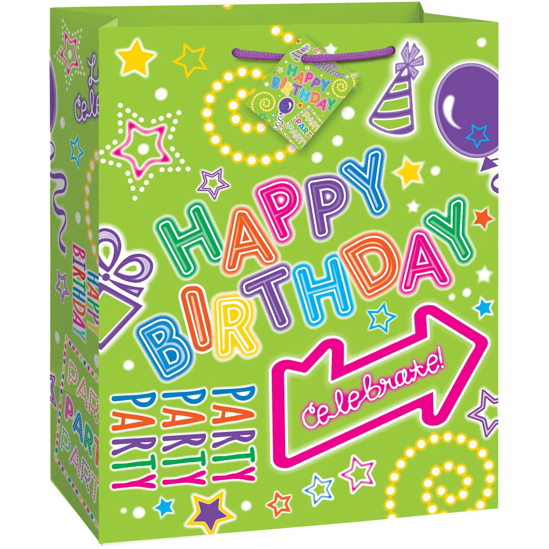 Green Neon Happy Birthday Gift Bag
