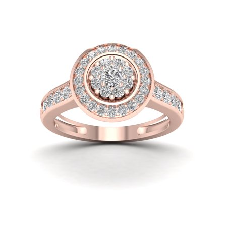 5/8Ct TDW Diamond 10k Rose Gold Double Halo Engagement Ring