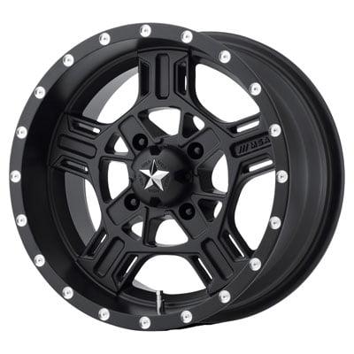 4/110 Motosport Alloys M32 Axe Wheel 14x7 4.0 + 3.0 Satin Black for Yamaha GRIZZLY 700 4x4 2007-2018 ()