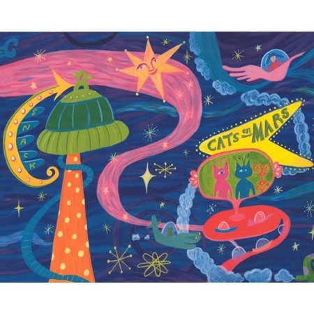 Cats On Mars Spaceship Planets Navy Blue Wallpaper Border For Kids Bedroom Playroom Bathroom Roll 15 X 9 Walmart Canada