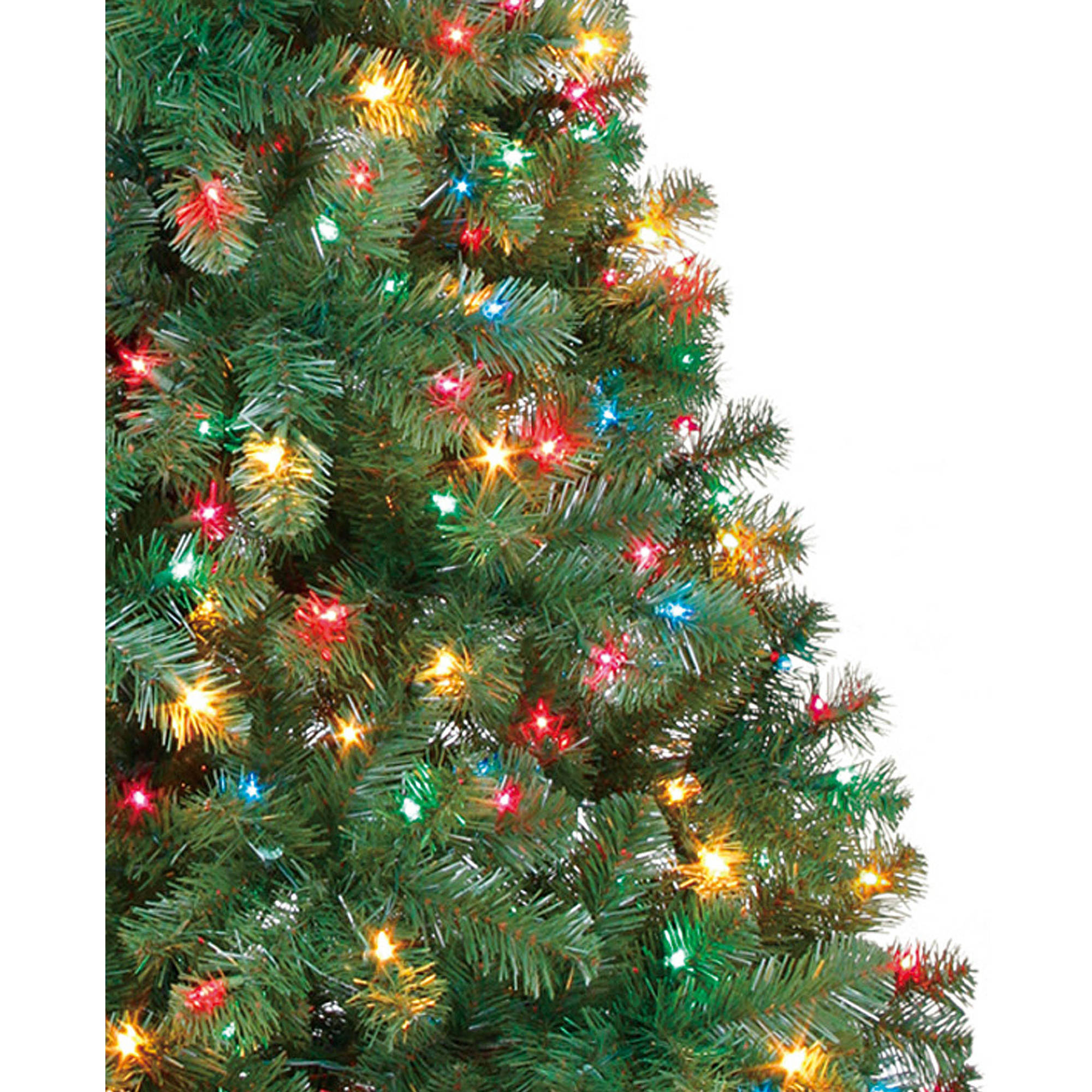 holiday time prelit 65u0027 madison pine green artificial christmas tree multi lights walmartcom