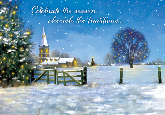 Designer Greetings Fence and Church Box of 18 Religious ...