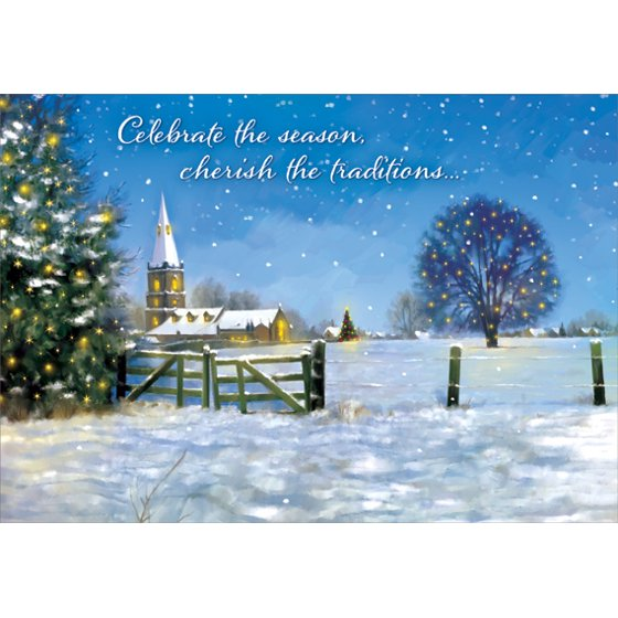 Religious Christmas Card Designs.Designer Greetings Fence And Church Box Of 18 Religious Christmas Cards