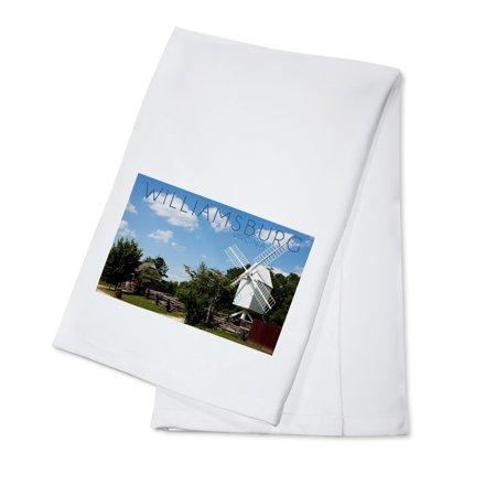 Williamsburg, Virginia - Windmill - Lantern Press Photography (100% Cotton Kitchen Towel)