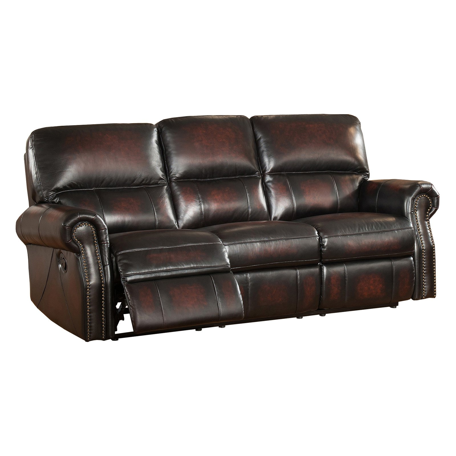 Amax Leather Brooklyn Top Grain Leather Reclining Sofa