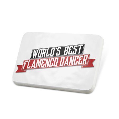 Porcelein Pin Worlds Best Flamenco Dancer Lapel Badge –