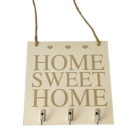 Plaque Key - Decorative Wall Home Sweet Rustic White Wood Hanging Plaque Sign With Hooks Key Hanger Gift