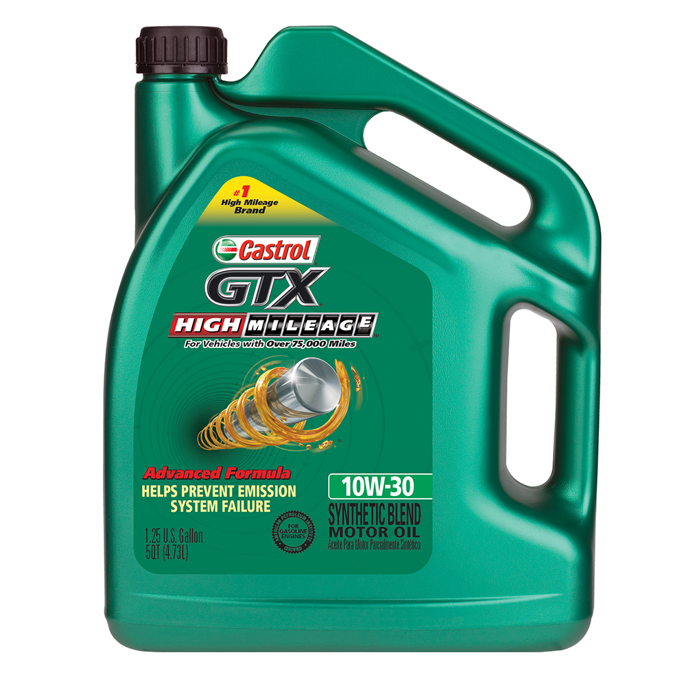 castrol gtx high mileage 10w 30 synthetic blend motor oil
