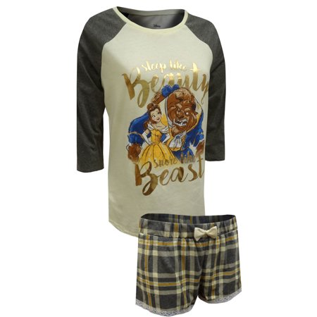 Beauty and the Beast Lace Trim Shortie Pajama Set (Best Pajamas For Breastfeeding)