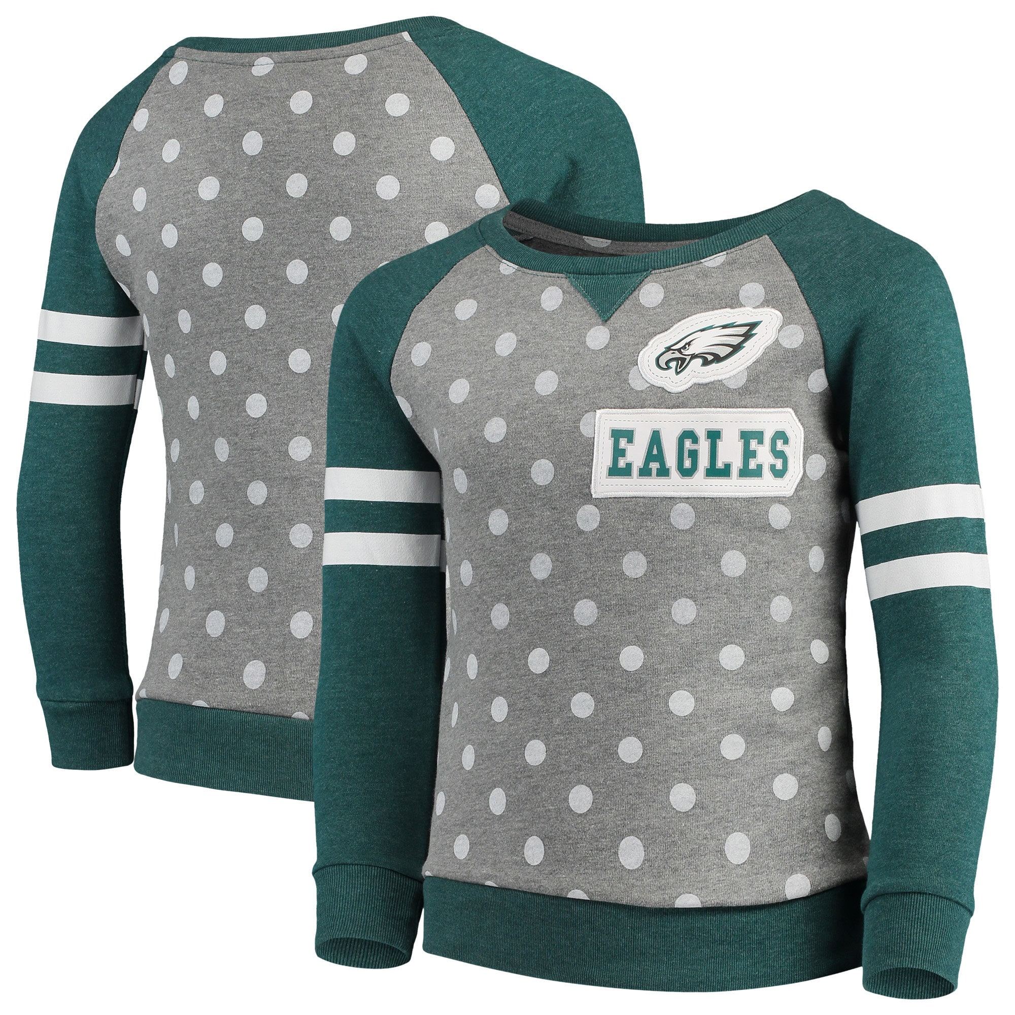 Philadelphia Eagles OuterStuff NFL Youth Girls Team Logo Polka Dot Print Crew