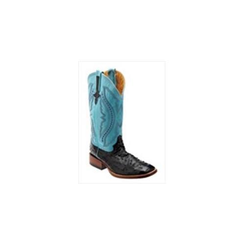 Ferrini 1019304080D Mens Full Quill Ostrich Square-Toe Black Boots 8D by