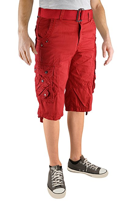North 15 Mens Cotton Fashion Multi Pocket Belted Cargo Short-13015-Rd-40