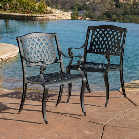Christopher Knight Home Outdoor Cayman Cast Aluminum Black Sand Chair  Set Of 2  By