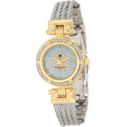 Charles-Hubert Paris Women's Paris 6779-T Premium Collection Two-Tone Brass Case with Stainless Steel Wire Bangle Watch