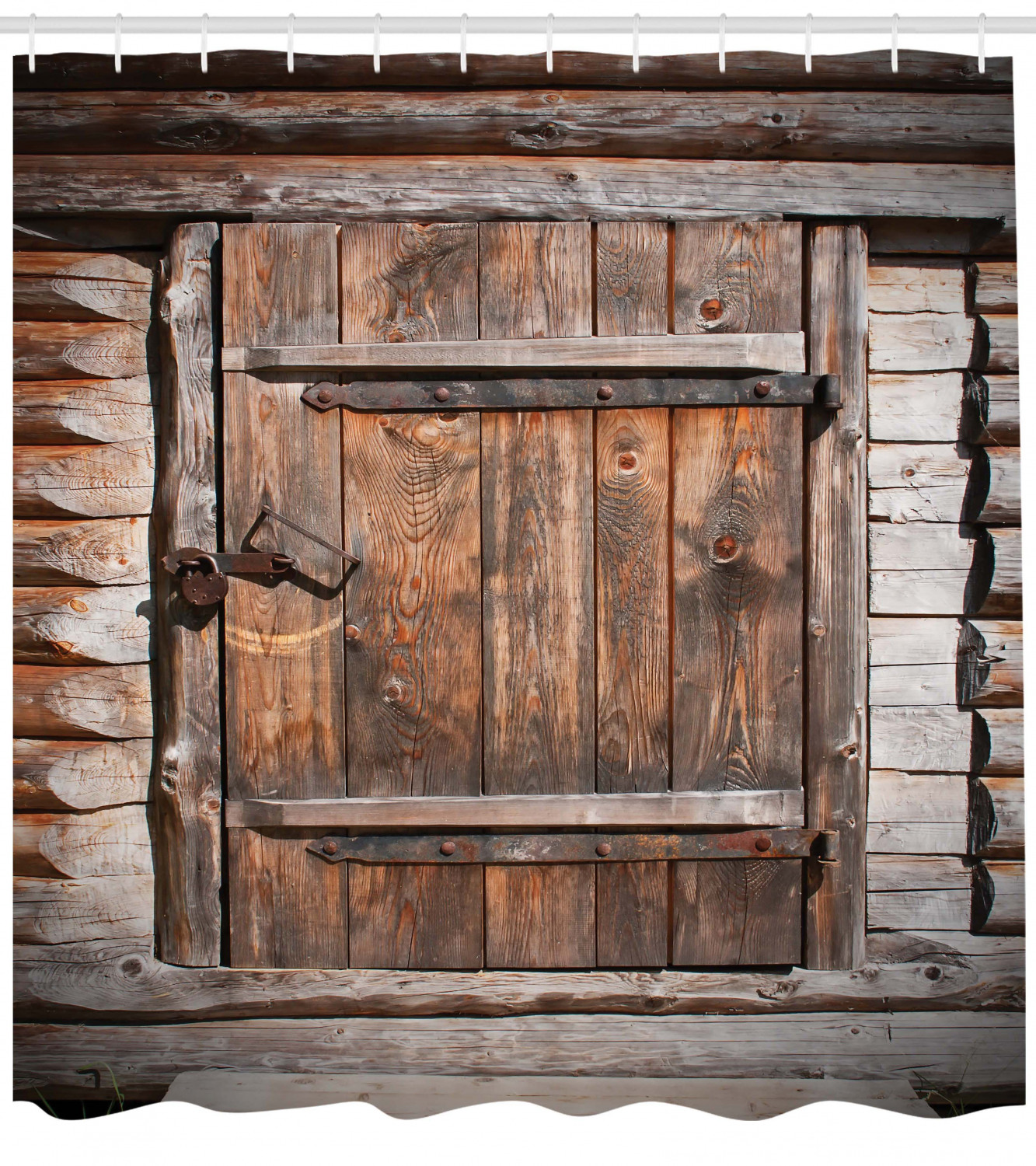 Vintage Shower Curtain Rustic Wooden Door Of Old Barn In