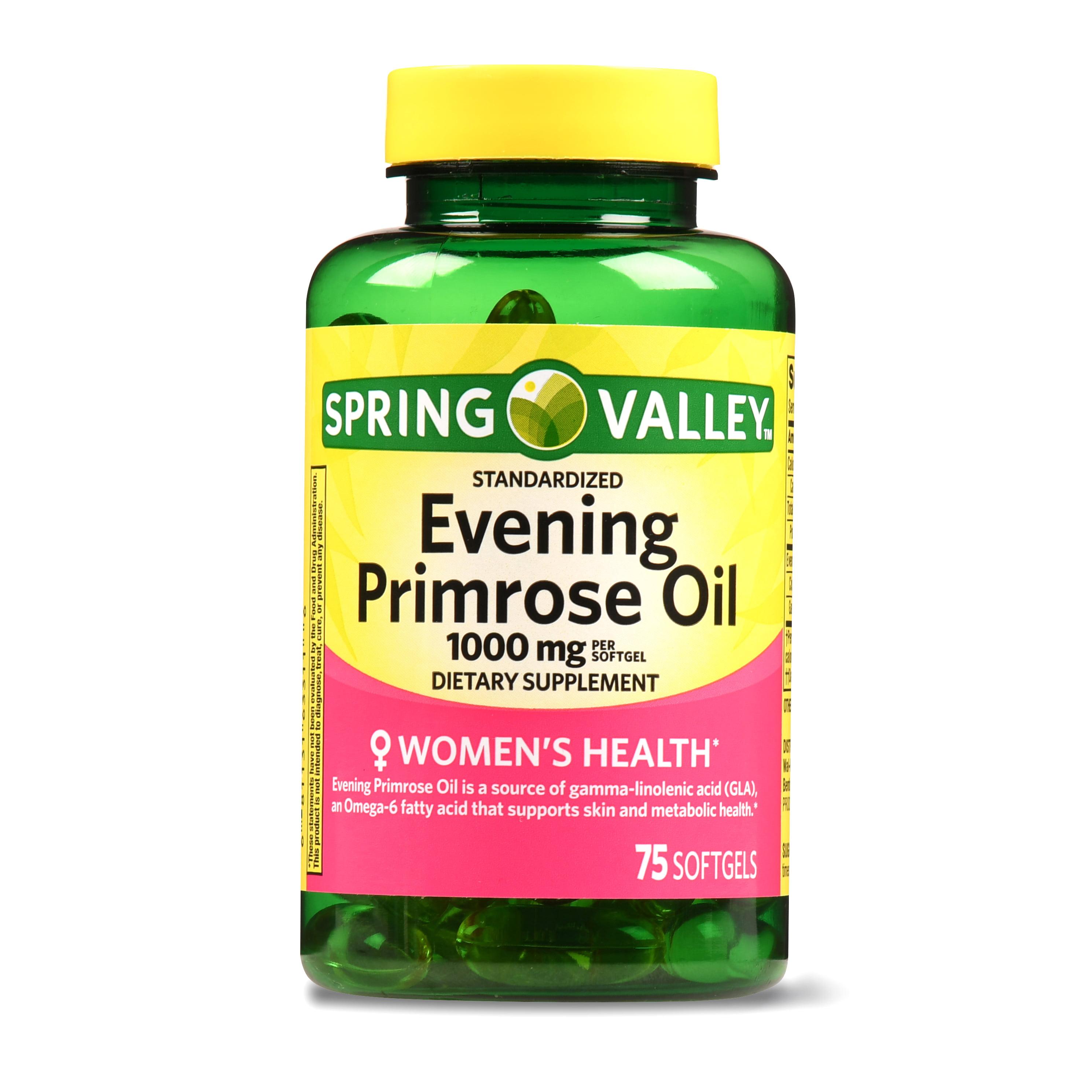 Spring Valley Women's Health Evening Primrose Oil Softgels, 1000 mg, 75 Ct