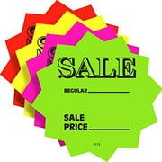 """5.5"""" Sale Price Fluorescent Neon Die Cut Star Burst Retail Sign Cards, 100 Pack"""