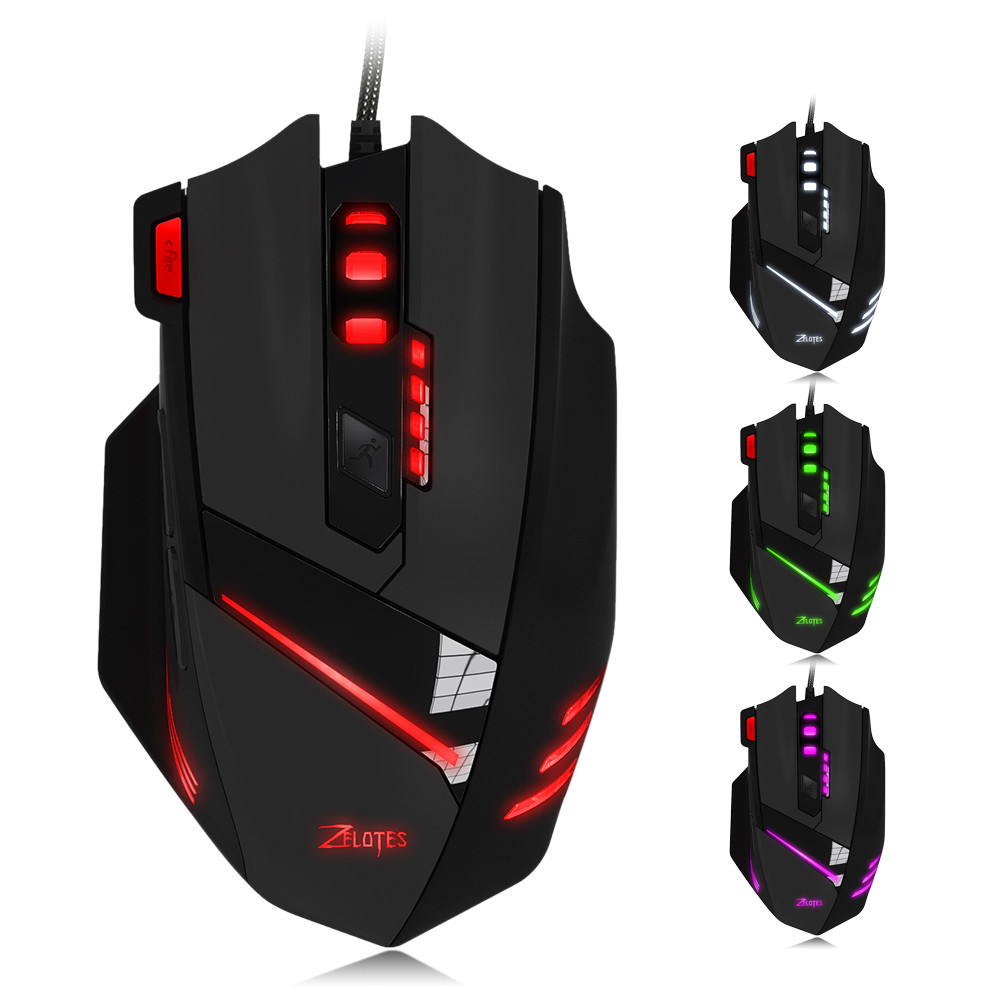 Outtop ZELOTES T-60 7200DPI Professional USB Wired Optical 7 Buttons Gaming Mouse