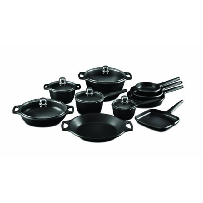 Fundix F11-SET15 15-Piece Nonstick Cast Aluminium Induction Set with Black Removable Handle