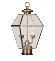 Outdoor Post 2 Light With Clear Beveled Glass Antique Brass Finish size 17 in 120 Watts - World of Crystal