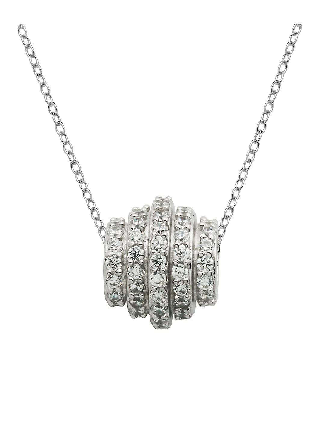 Sterling Silver and Cubic Zirconia Ring Pendant Necklace