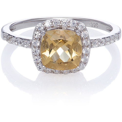 Citrine Cushion-Cut with Created White Sapphire Ring, Size 7
