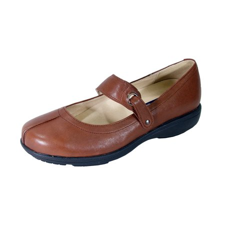 PEERAGE Deena Women Extra Wide Width Mary Jane Shoes BROWN 5.5 (Extra Wide Ladies Shoes)